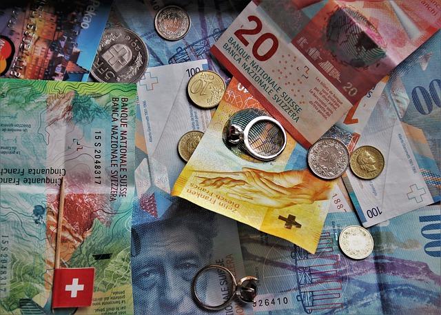 švýcarské franky, bankovky, prsten