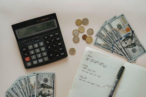 kalkulačka, blok, peníz
